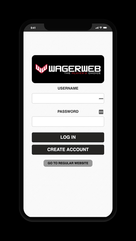 WagerWeb Account Screen