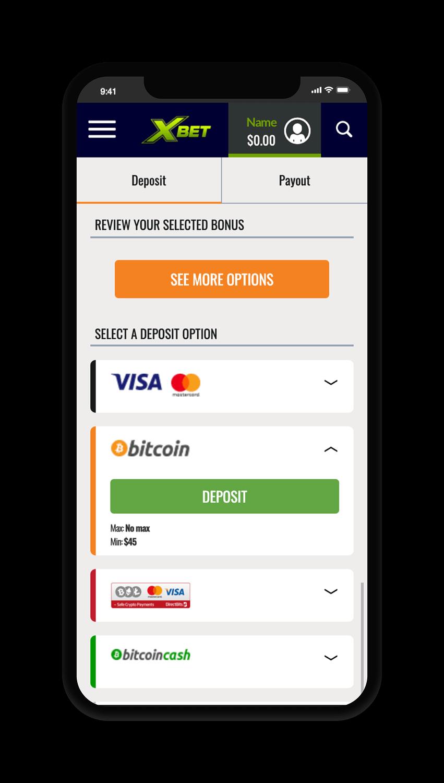 Xbet Deposit Screen